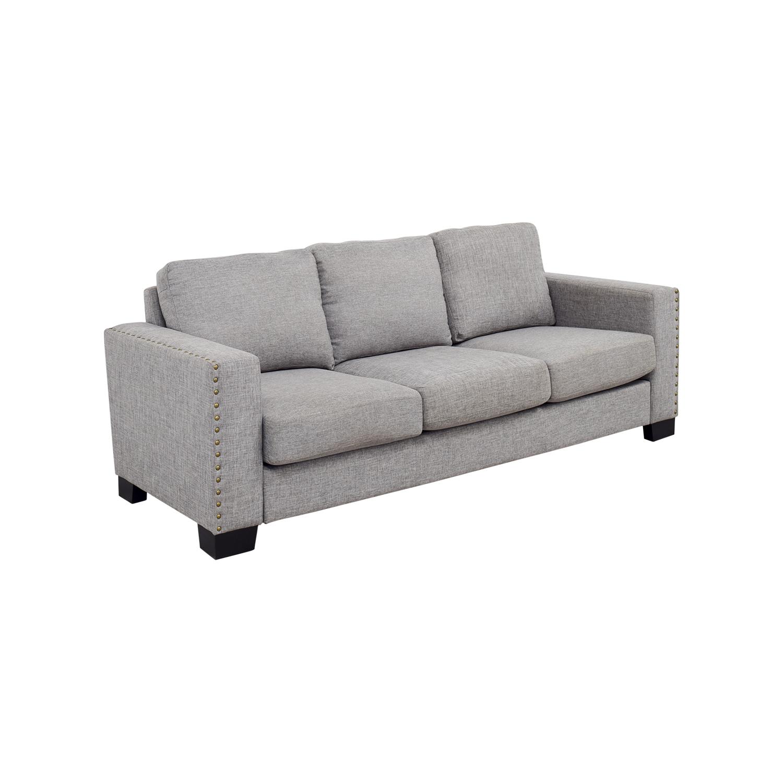 40% OFF INSPIRE Q INSPIRE Q Grey Linen Nailhead Track Arm Sofa