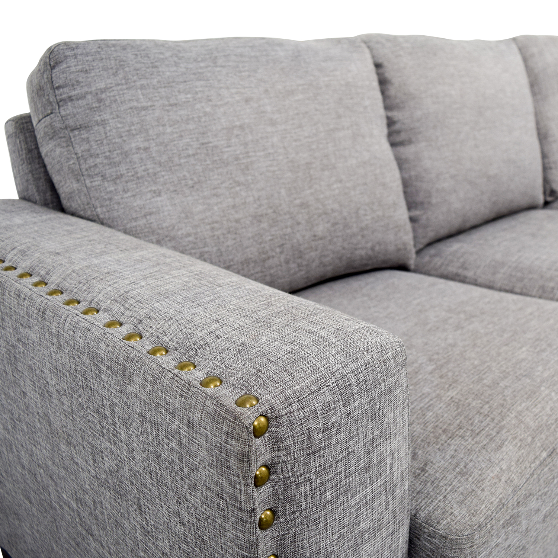 Grey Linen Nailhead Track Arm Sofa