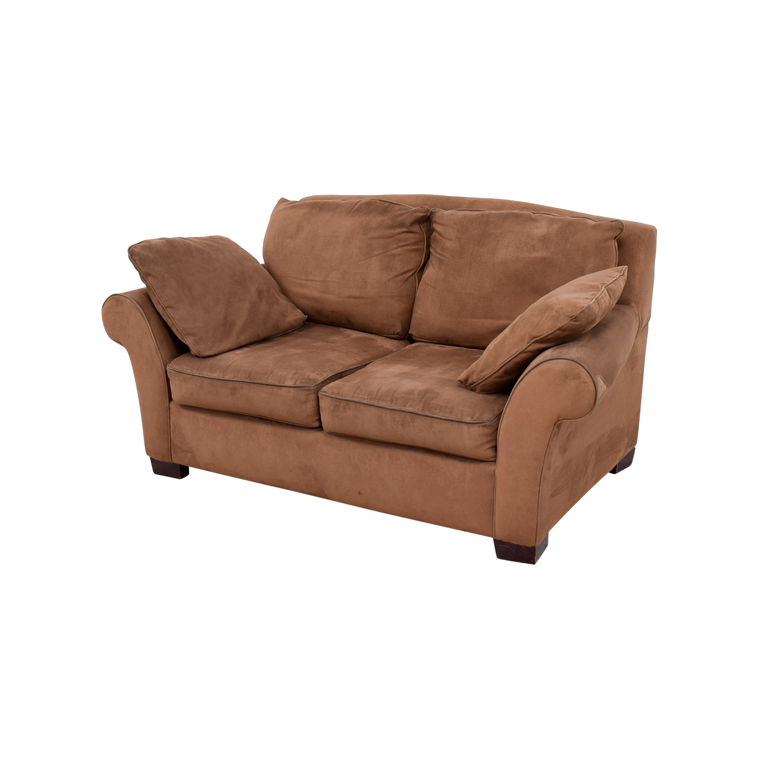 90 off brown curved arm loveseat sofas for Furniture 90 off
