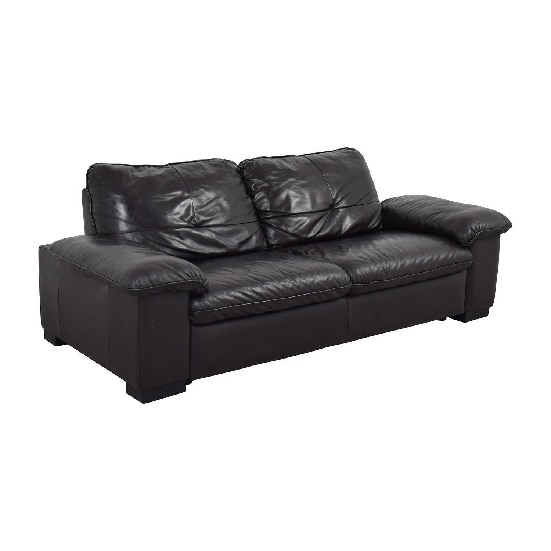 68 Off Ikea Ikea Black Leather 3 Seat Sofa Sofas