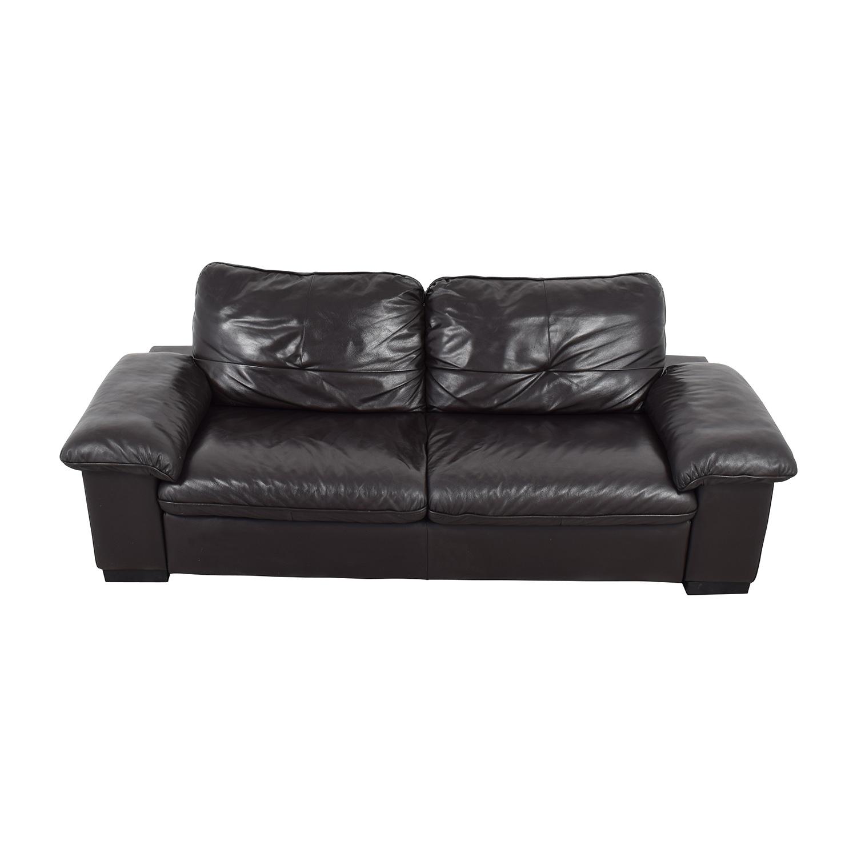 IKEA Black Leather 3-Seat Sofa IKEA