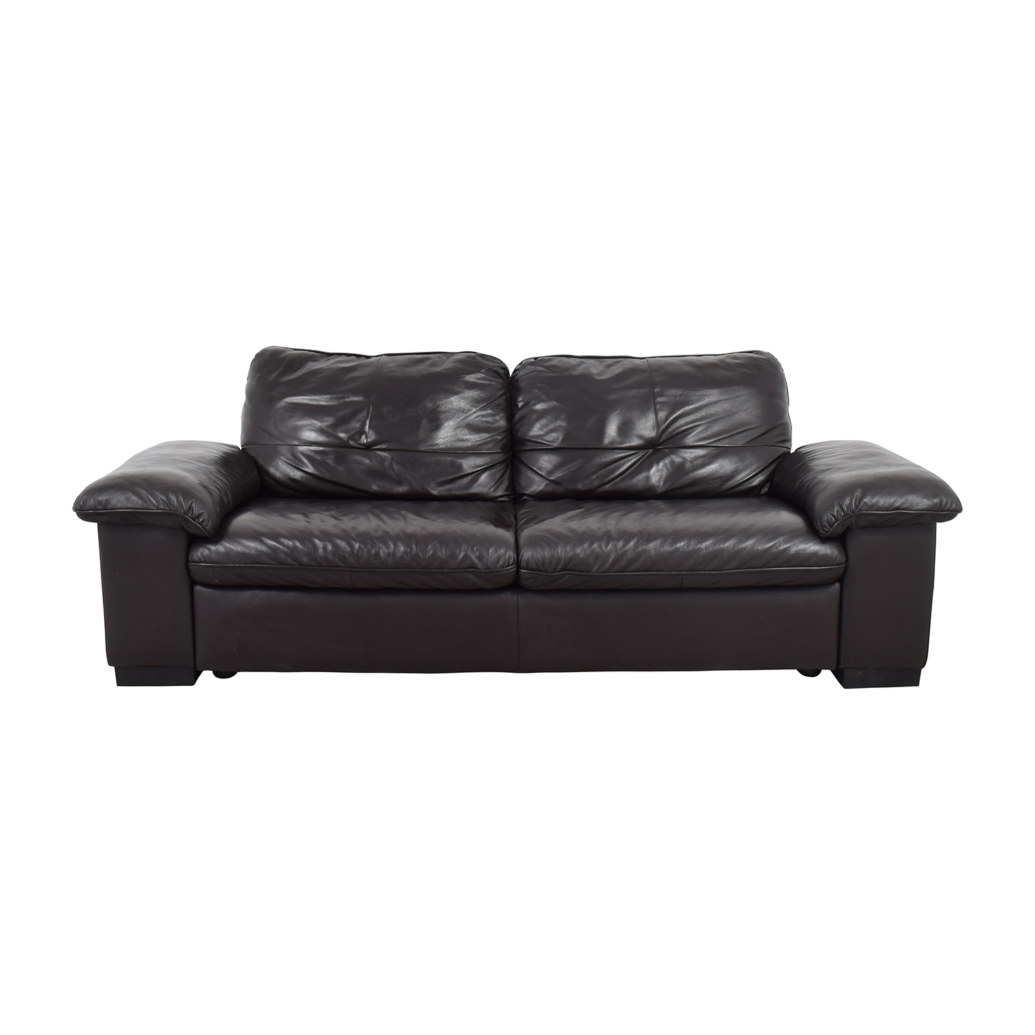 Buy IKEA Black Leather 3 Seat Sofa IKEA ...