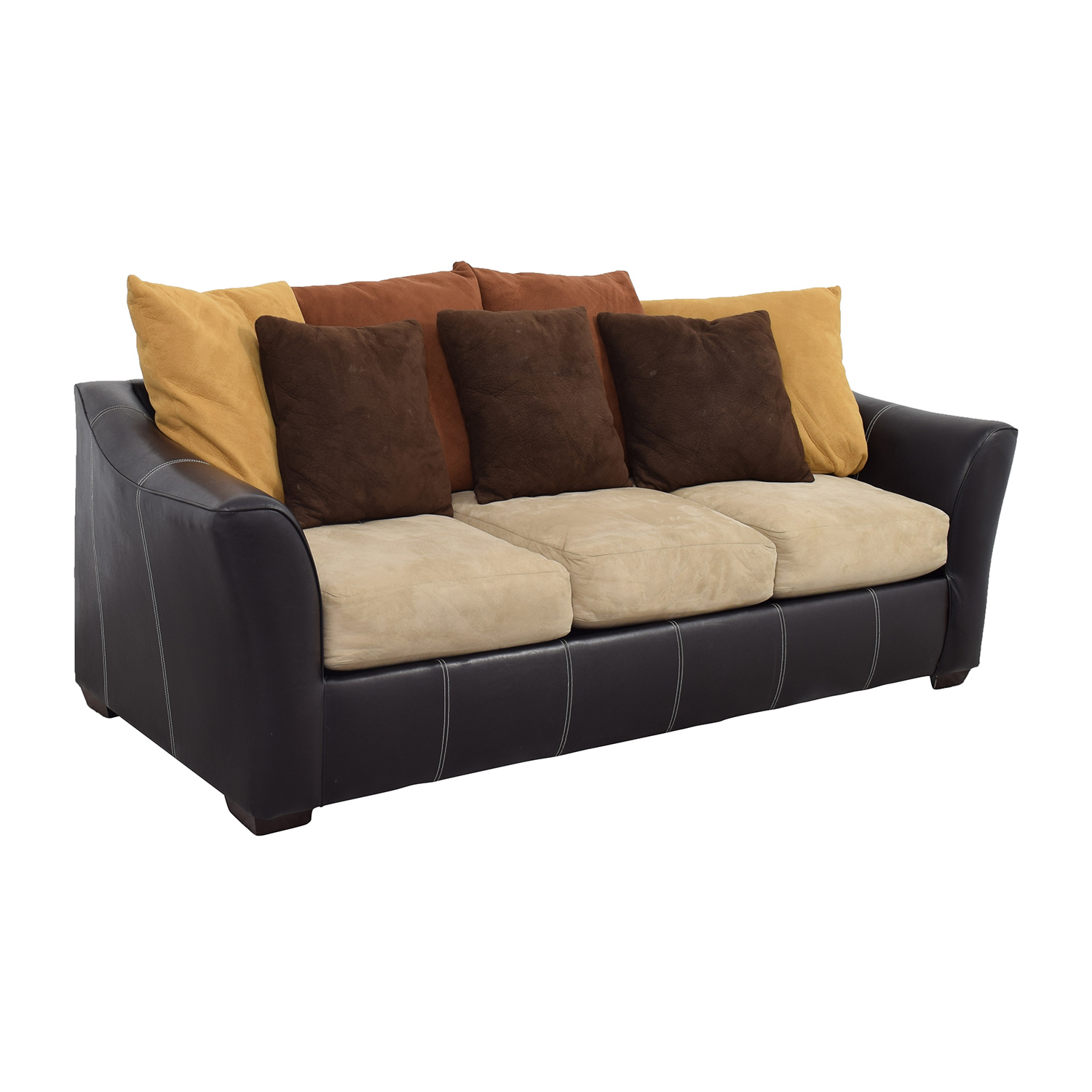 Second Hand Leather Sofas Gosport: Brown Leather Frame With Earth Tone Cushion Sofa