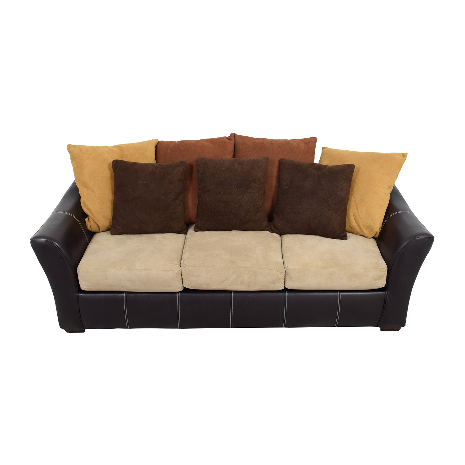 Brown Leather Frame with Earth Tone Cushion Sofa
