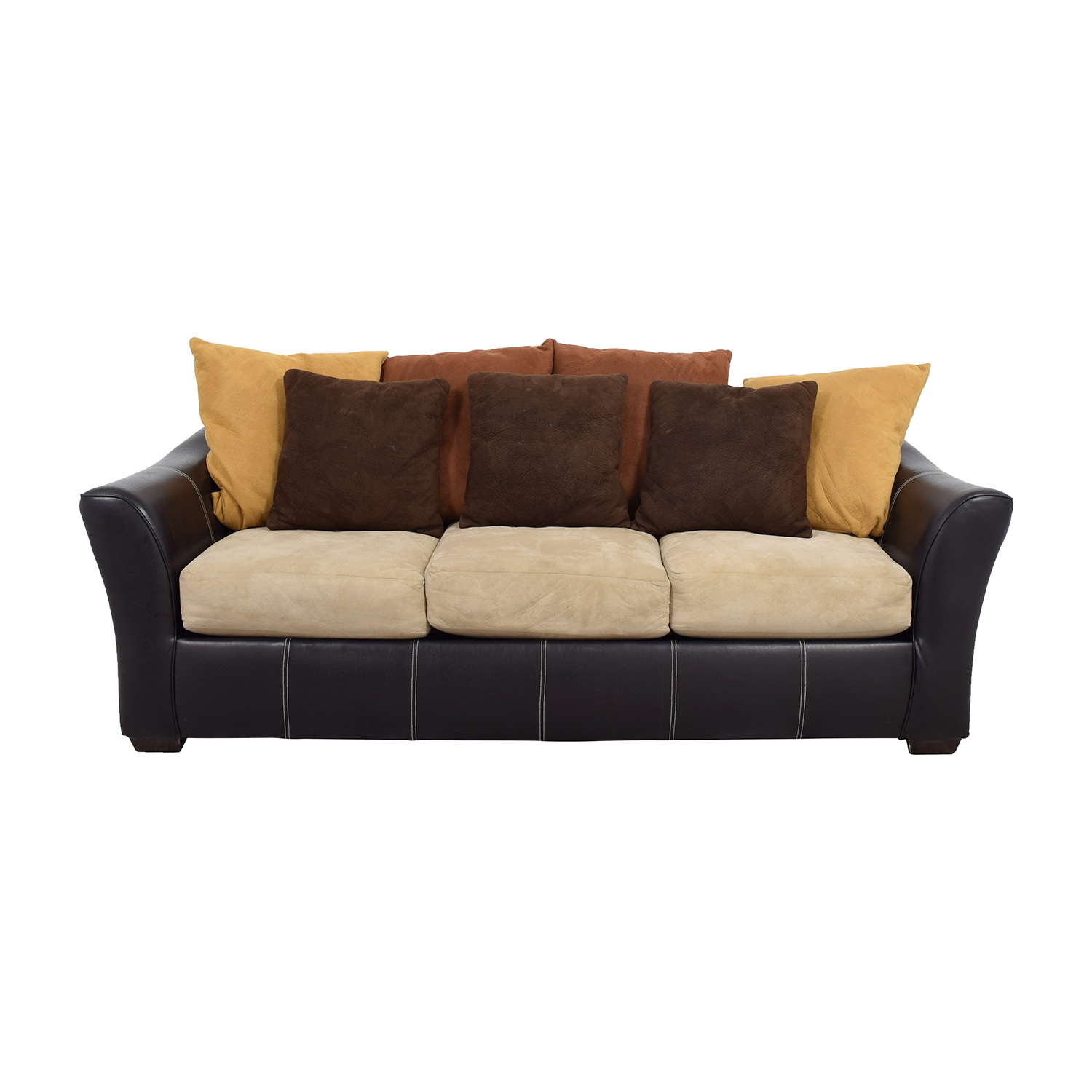 Brown Leather Frame With Earth Tone Cushion Sofa Nyc