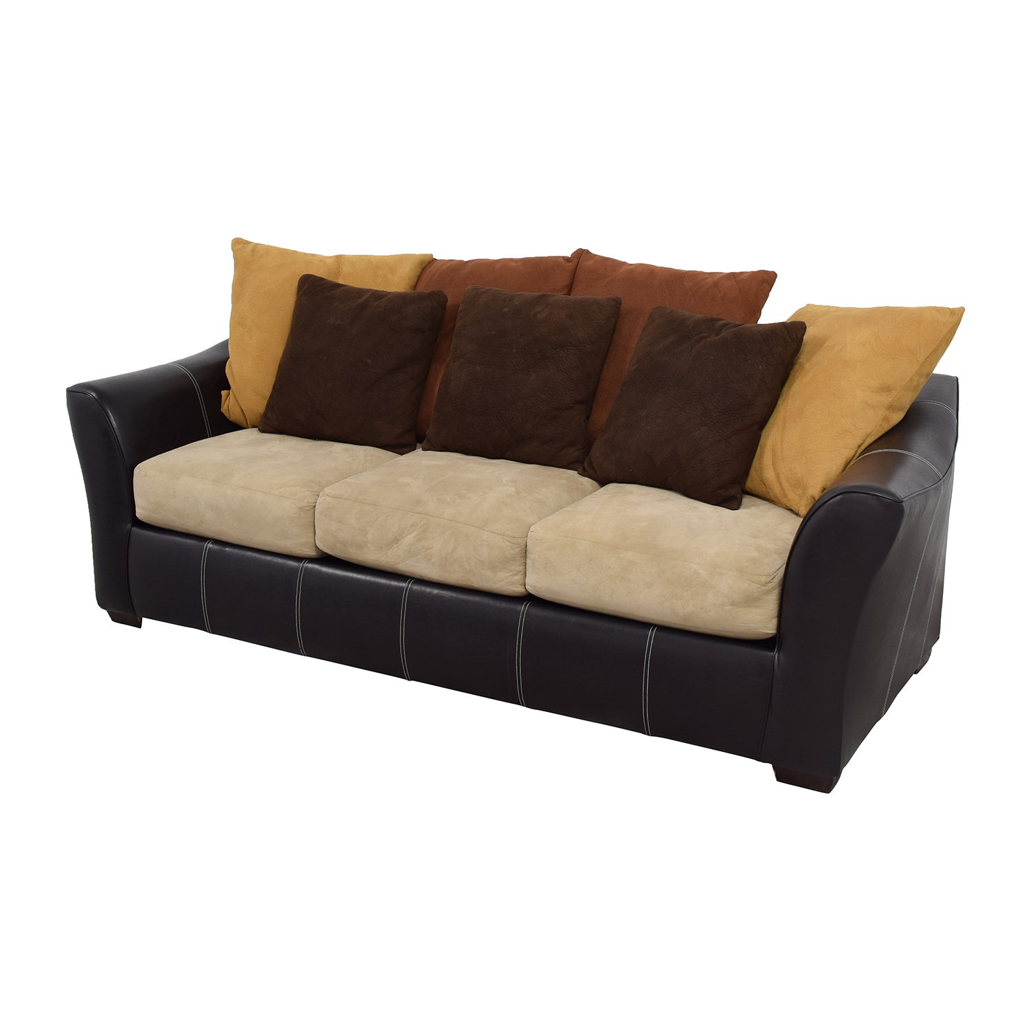 Second Hand Leather Sofas Somerset: Brown Leather Frame With Earth Tone Cushion Sofa