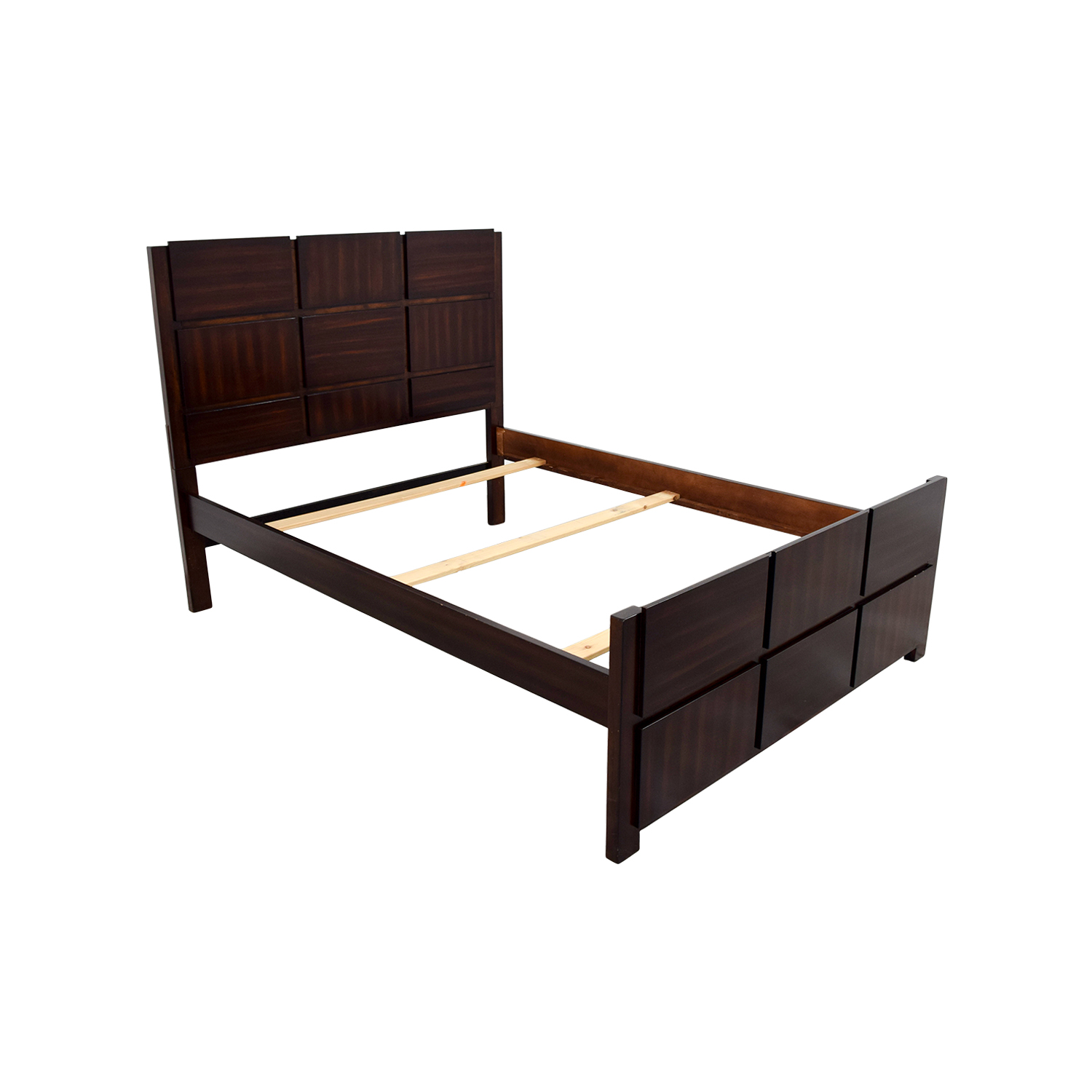 90 Off Brown Wooden Full Bed Frame Beds