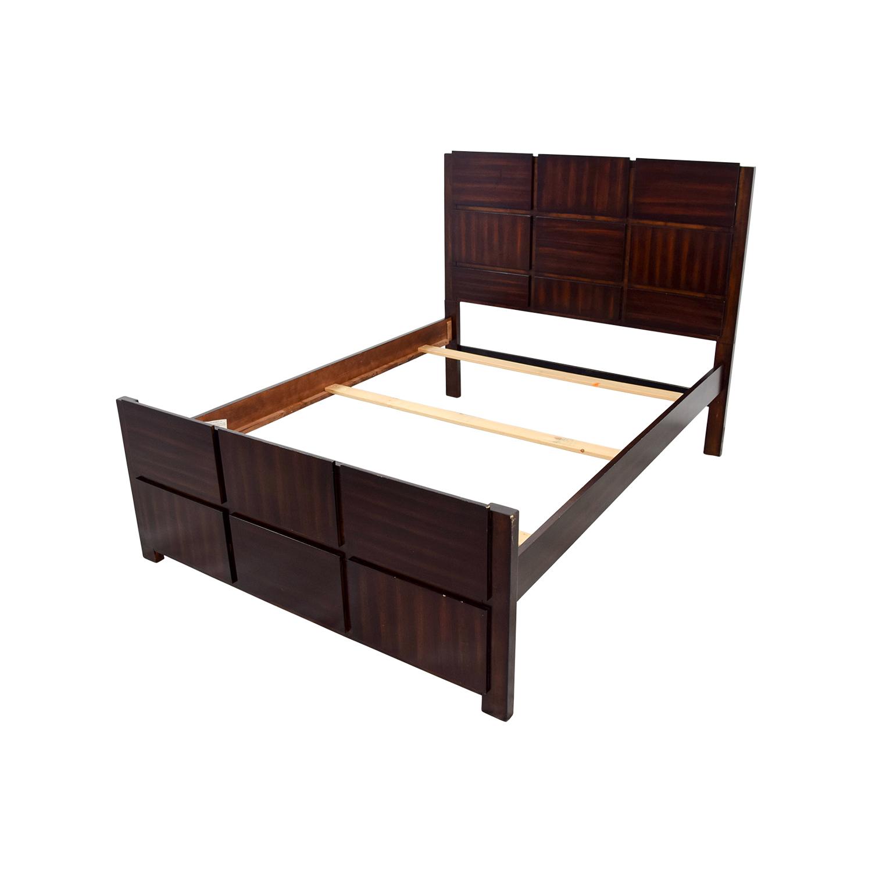 90 off brown wooden full bed frame beds for Used wooden bed frames
