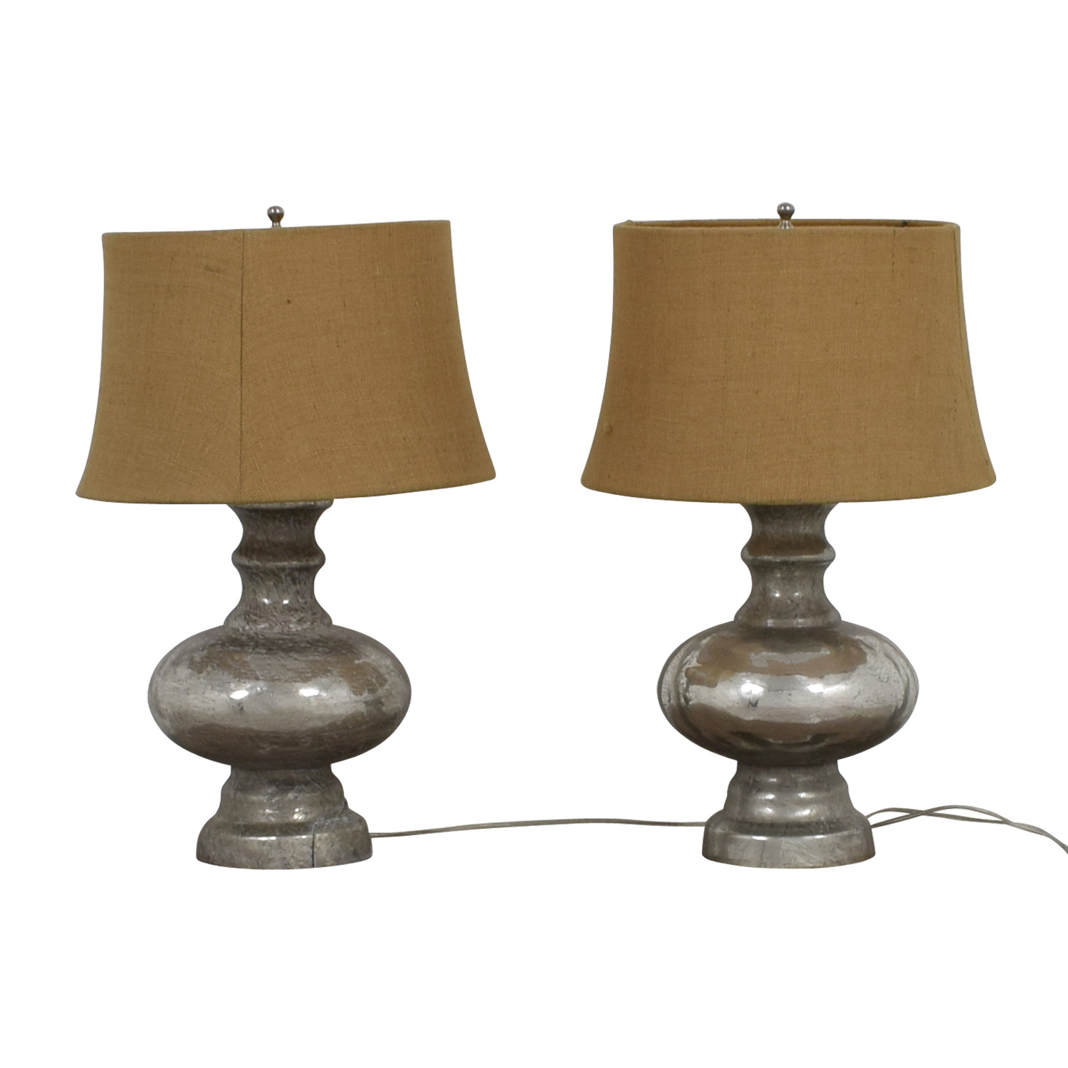 Pottery Barn Antique Mercury Glass Table Lamps / Decor