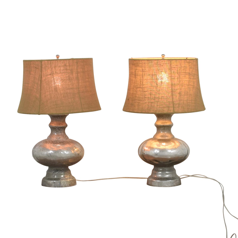 Pottery Barn Antique Mercury Glass Table Lamps / Decor