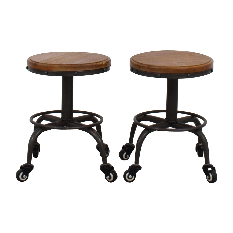buy Dot & Bo Distressed Adjustable Wood and Metal Stools Dot and Bo Stools