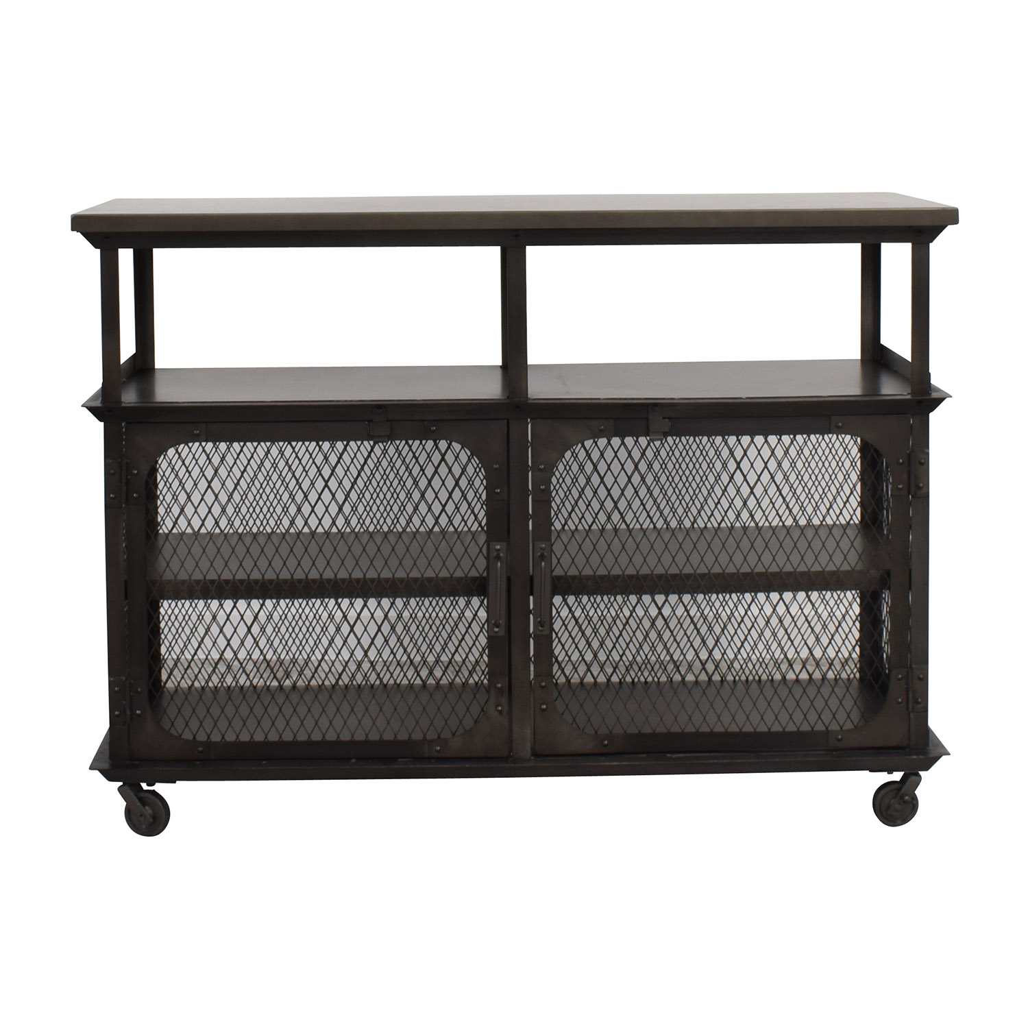 World Market World Market Bexley Caged Media Cabinet Silver ...