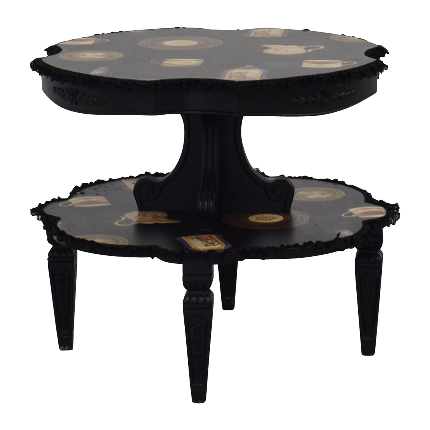 ... Alessi Round Black Pictured Duel End Table With Lace / Coffee Tables ...