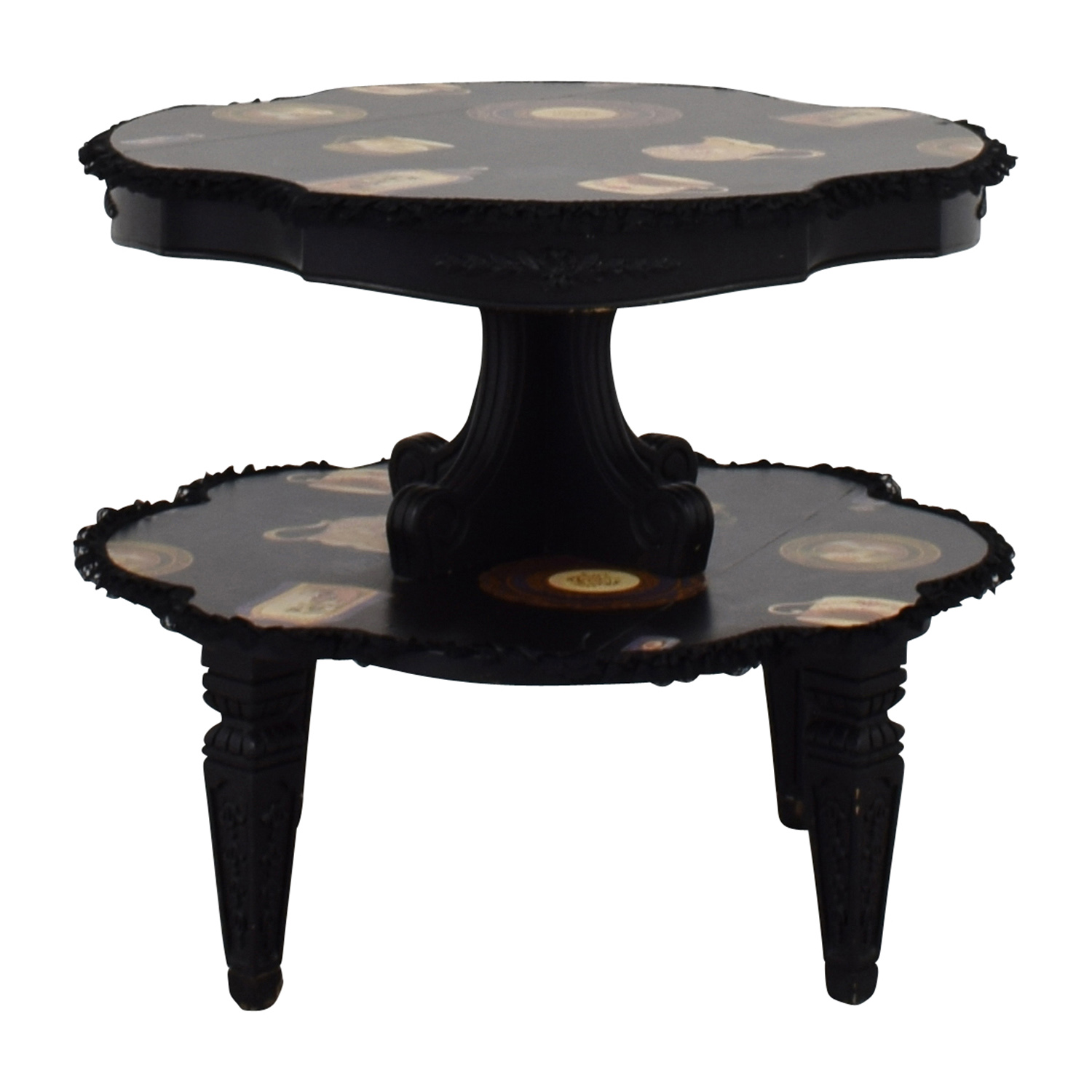 buy Alessi Round Black Pictured Duel End Table with Lace Alessi Tables
