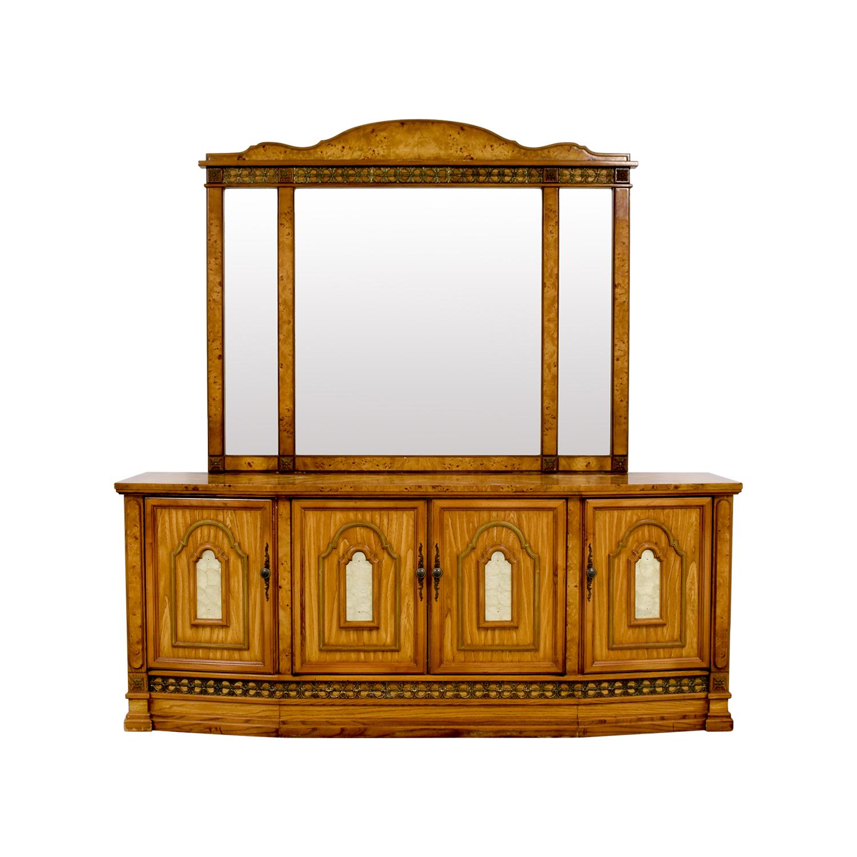 Antique Italian Nine-Drawer Dresser with Mirror on sale