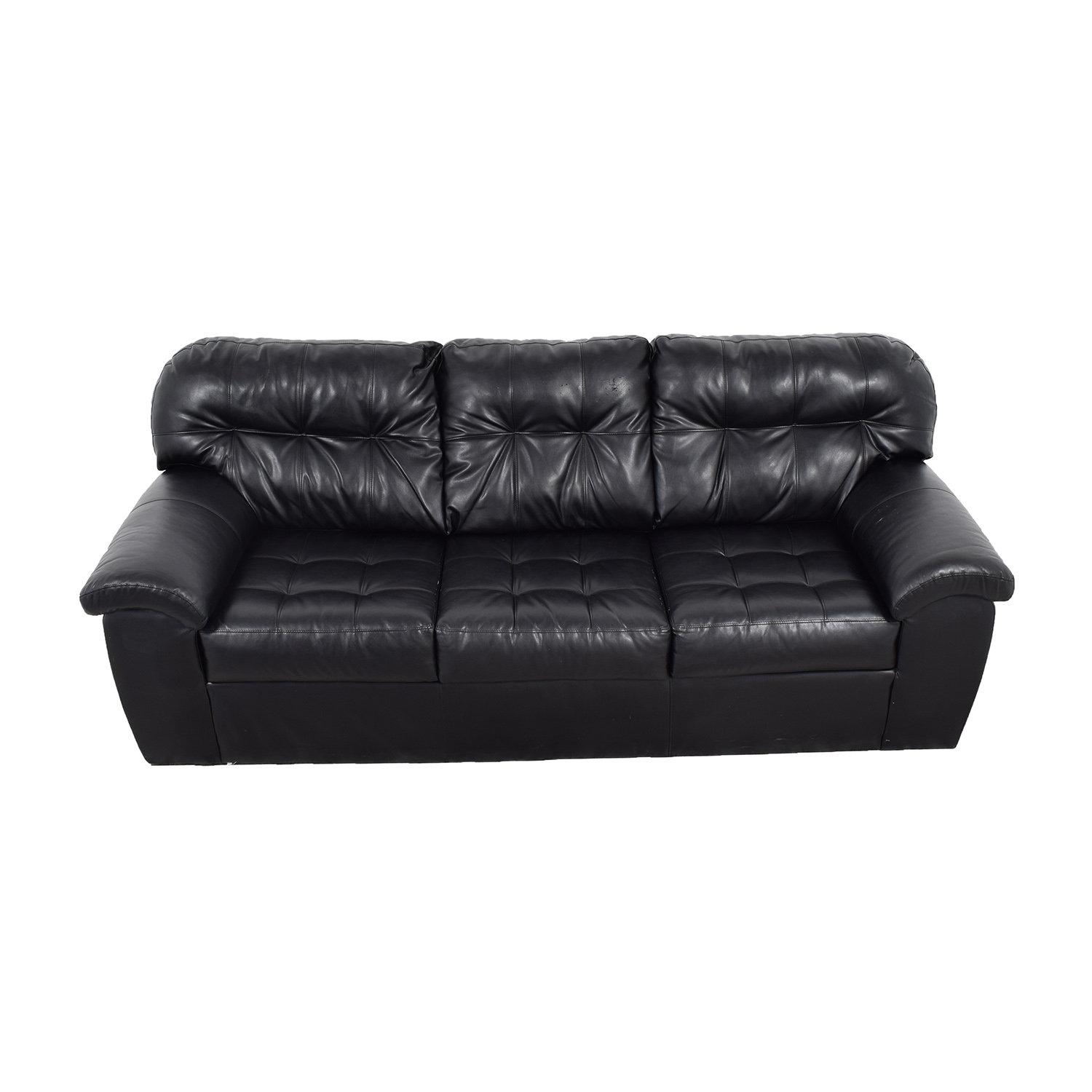 59% OFF Black Leather Tufted Three Cushion Sofa Sofas