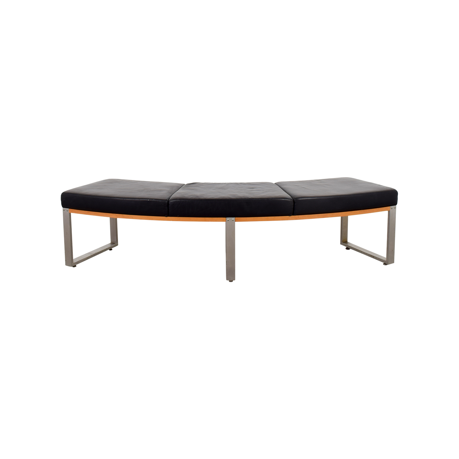 shop Black and Metal Curved Bench