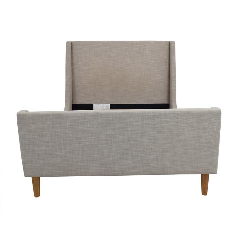 West Elm West Elm Full Grey Upholstered Sleigh Bed nyc