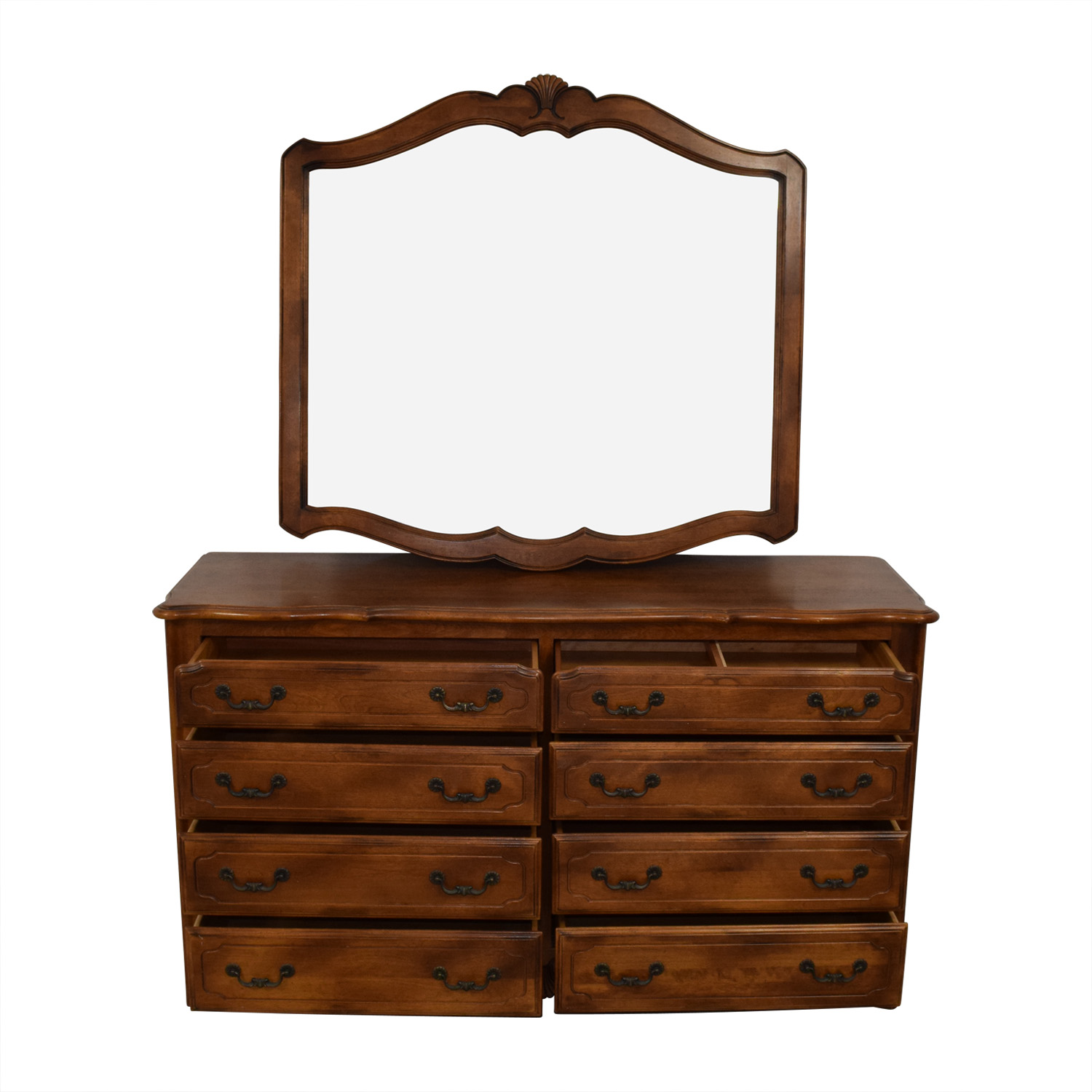 Wood Eight-Drawer Dresser with Mirror dimensions