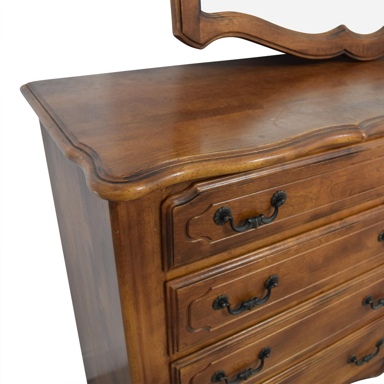 88 Off Wood Eight Drawer Dresser With Mirror Storage