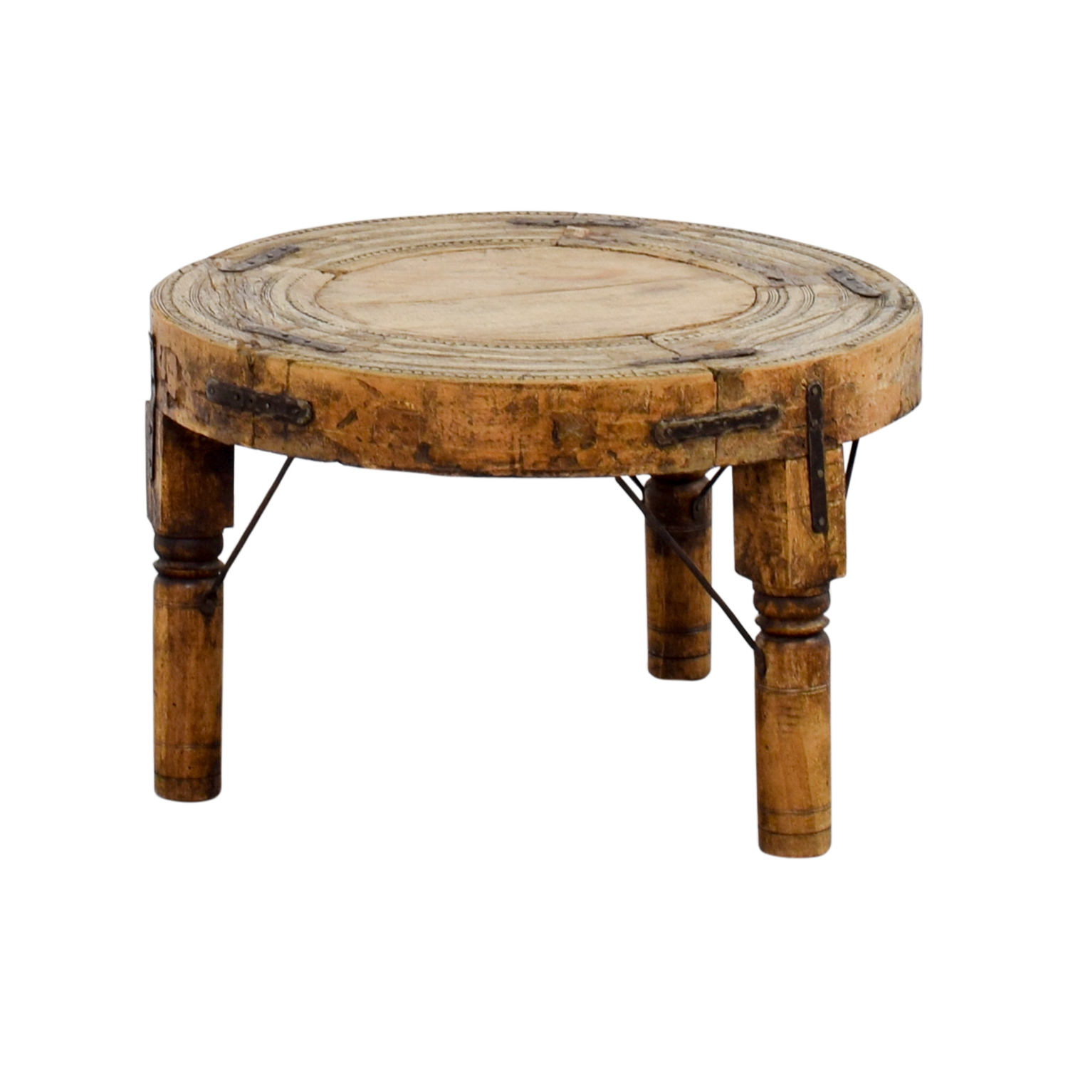 57% OFF Distressed Three Legged Side Table Tables