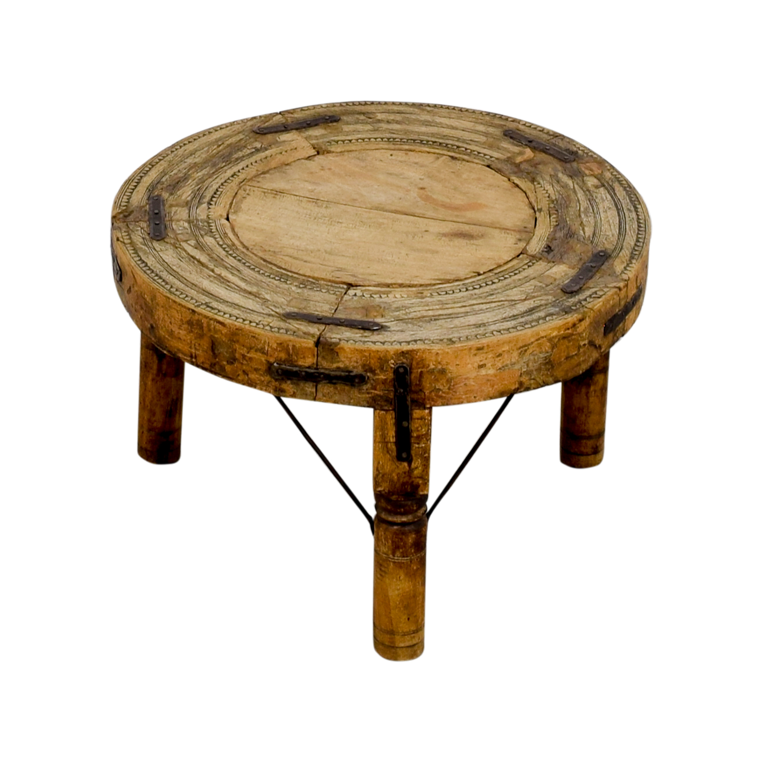 Distressed Three-Legged Side Table