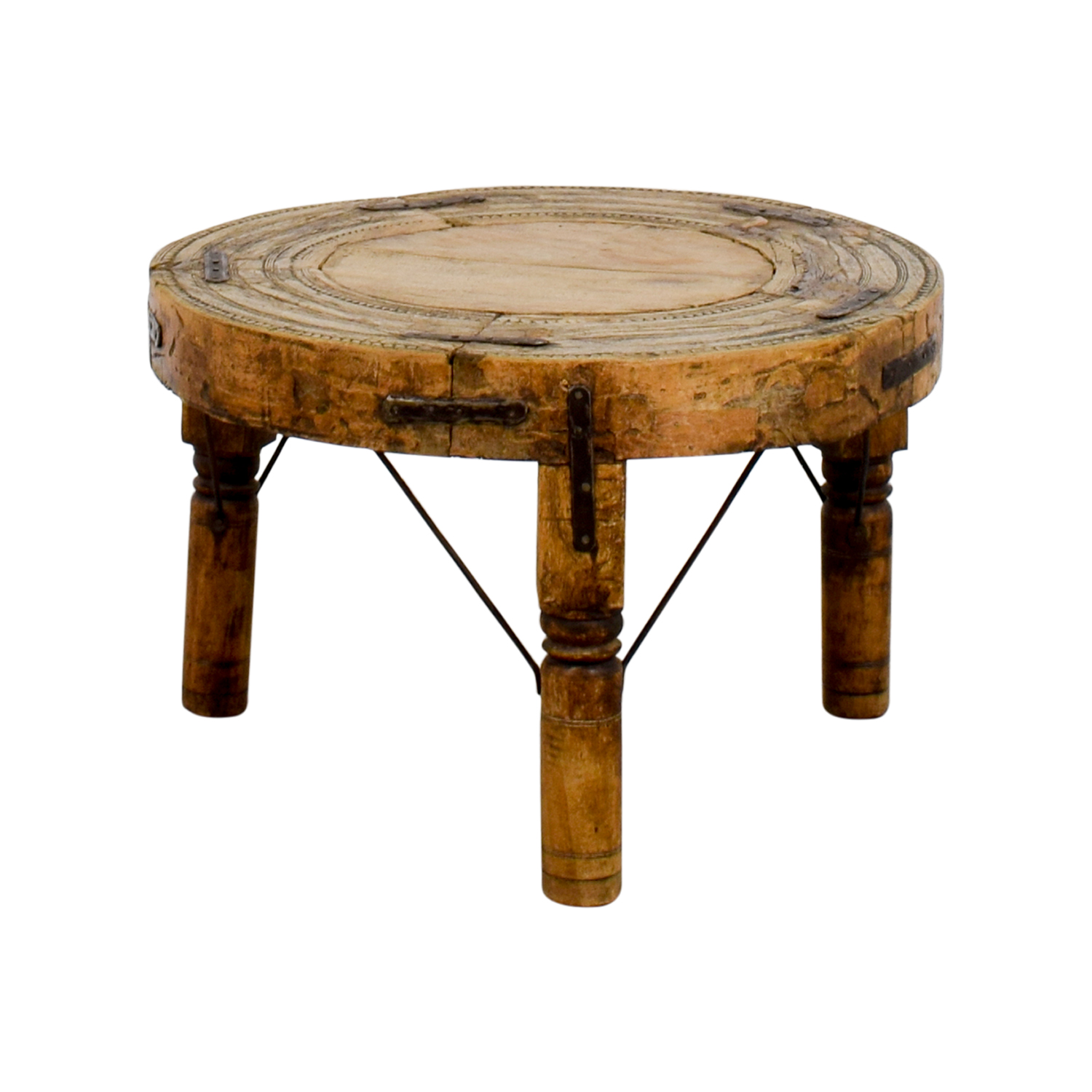 buy Distressed Three-Legged Side Table