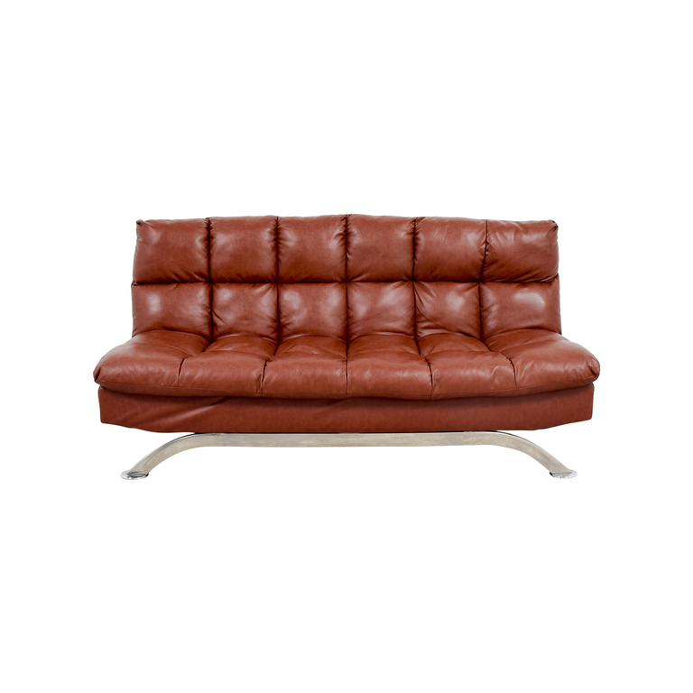 Wayfair Wayfair Brookeville Brown Leather Sleeper Futon second hand