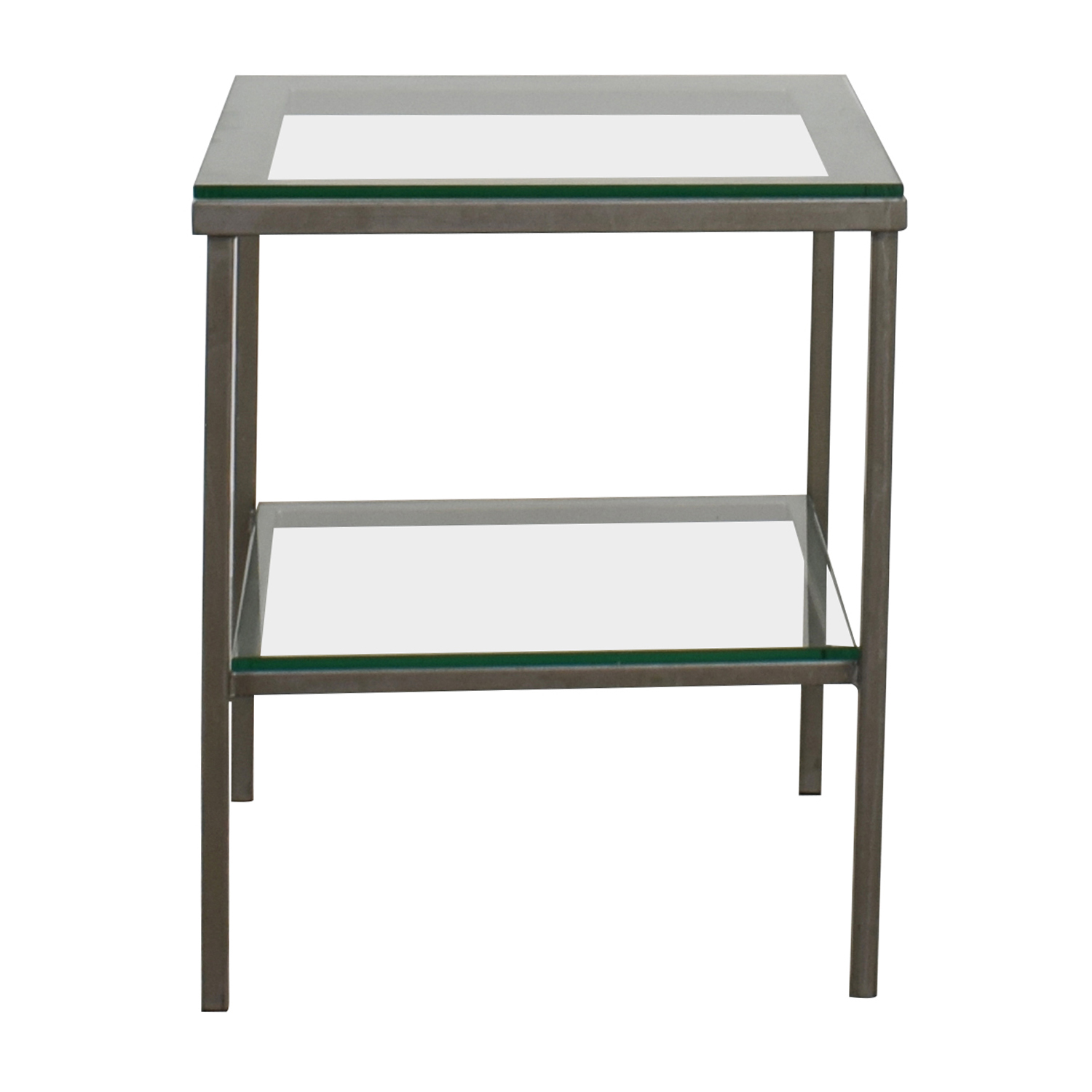 Crate & Barrel Glass Chrome Side Table sale