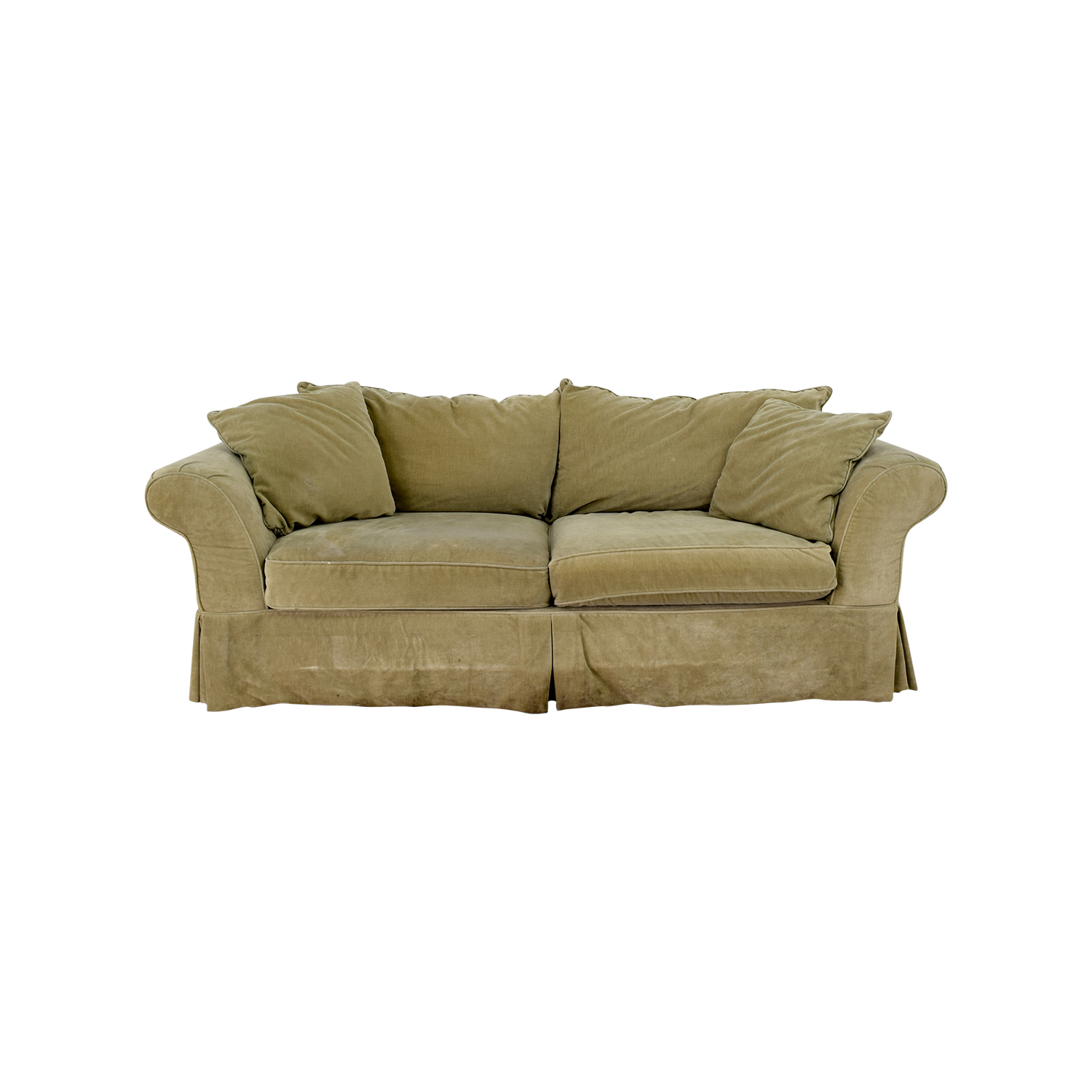 Groovy 90 Off Domain Domain Green Skirted Couch Sofas Pabps2019 Chair Design Images Pabps2019Com