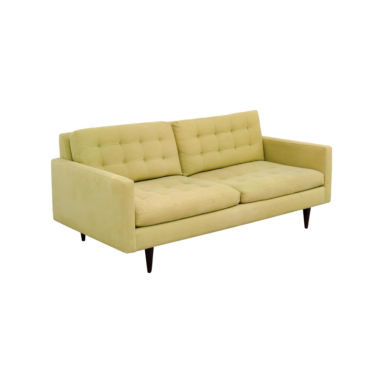 ... Crate U0026 Barrel Crate U0026 Barrel Petrie Pale Green Tufted Sofa Discount ...