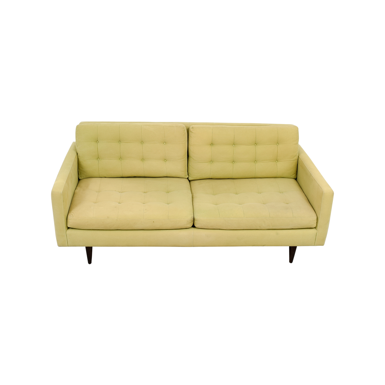 buy Crate & Barrel Petrie Pale Green Tufted Sofa Crate & Barrel Sofas