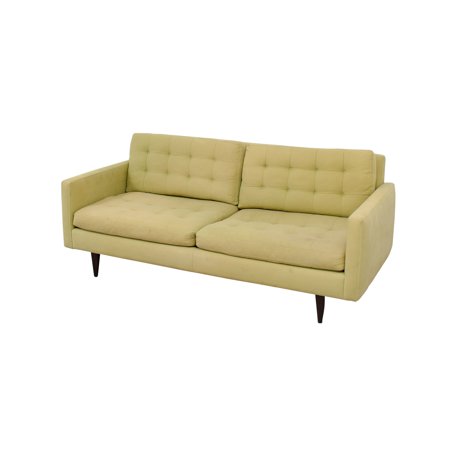 77 off crate barrel crate barrel petrie pale green tufted sofa sofas. Black Bedroom Furniture Sets. Home Design Ideas