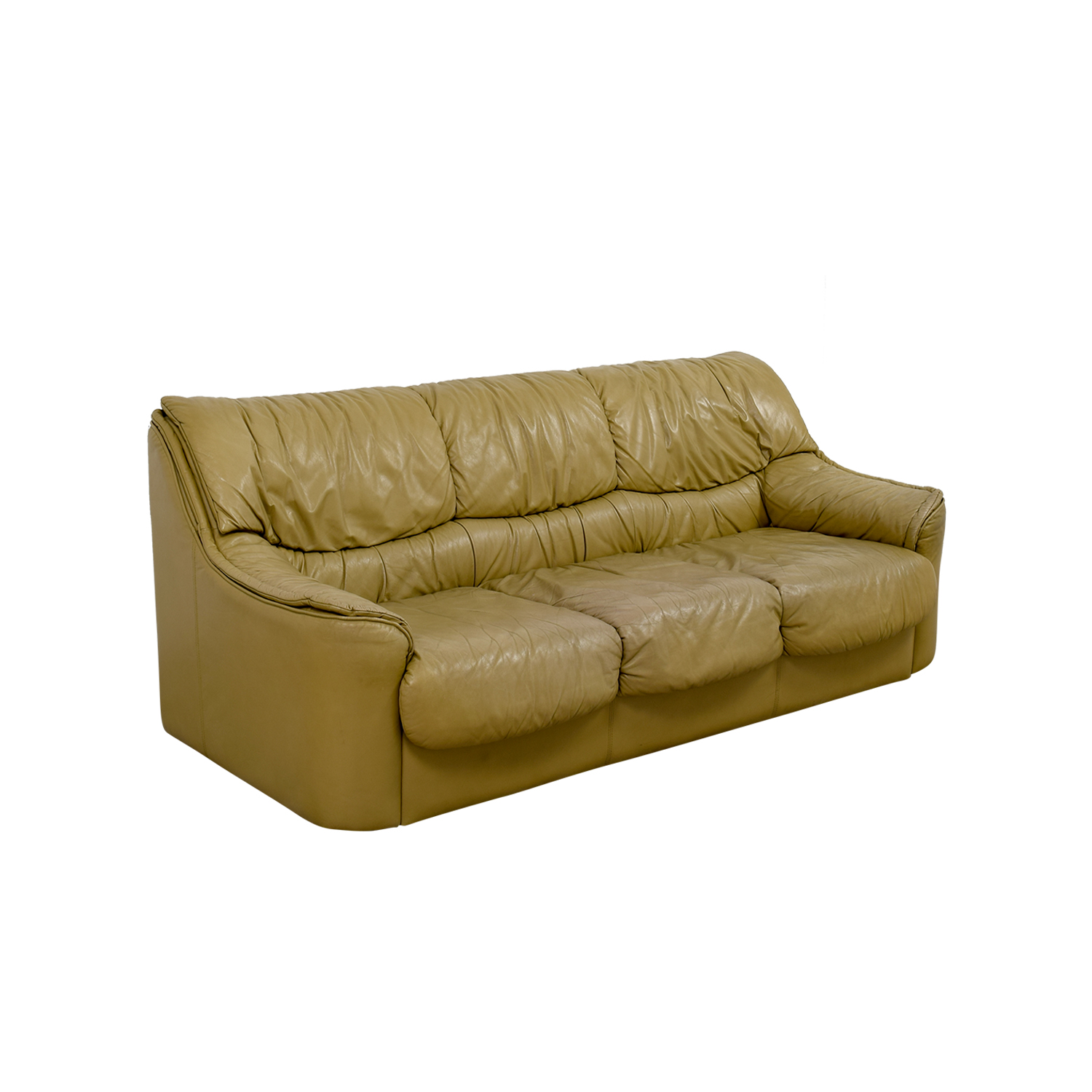 Beige Leather Sofa nj