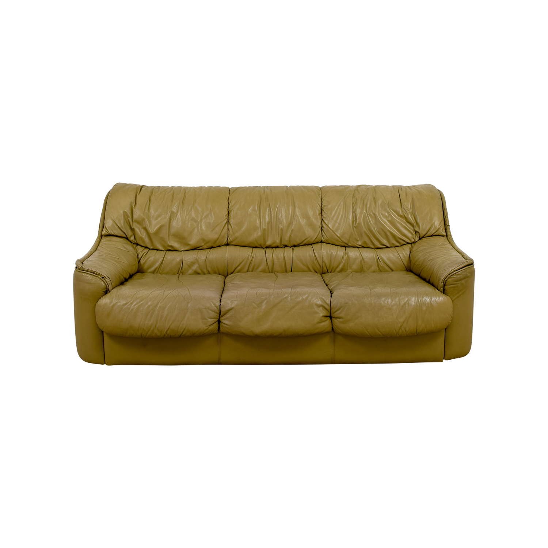 90% OFF - Beige Leather Sofa / Sofas