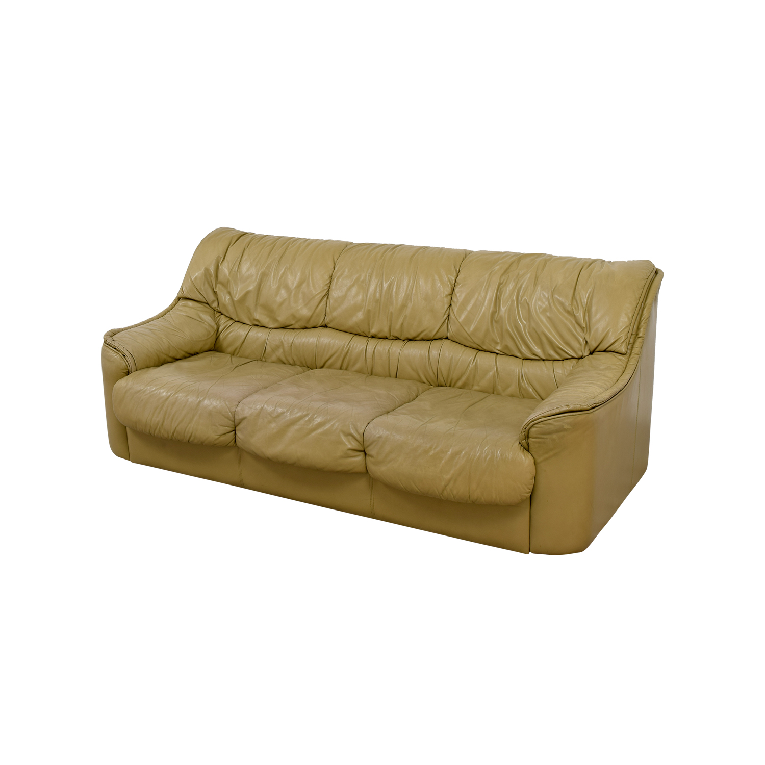 90 Off Beige Leather Sofa Sofas