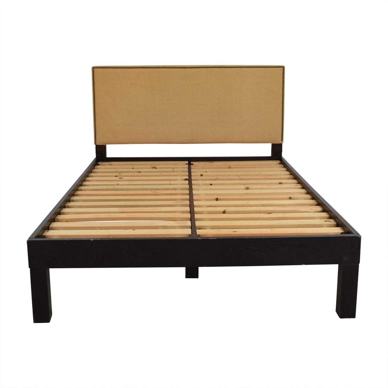 West Elm West Elm Nailhead Tan Upholstery Full Platform Bed discount