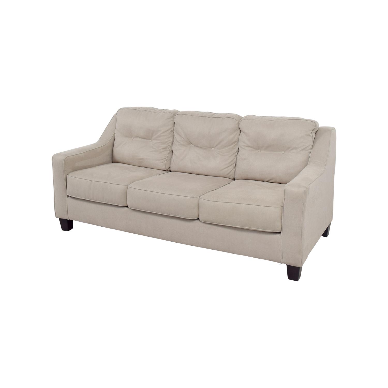 Ashley Furniture Beige Three Cushion Couch Clic Sofas