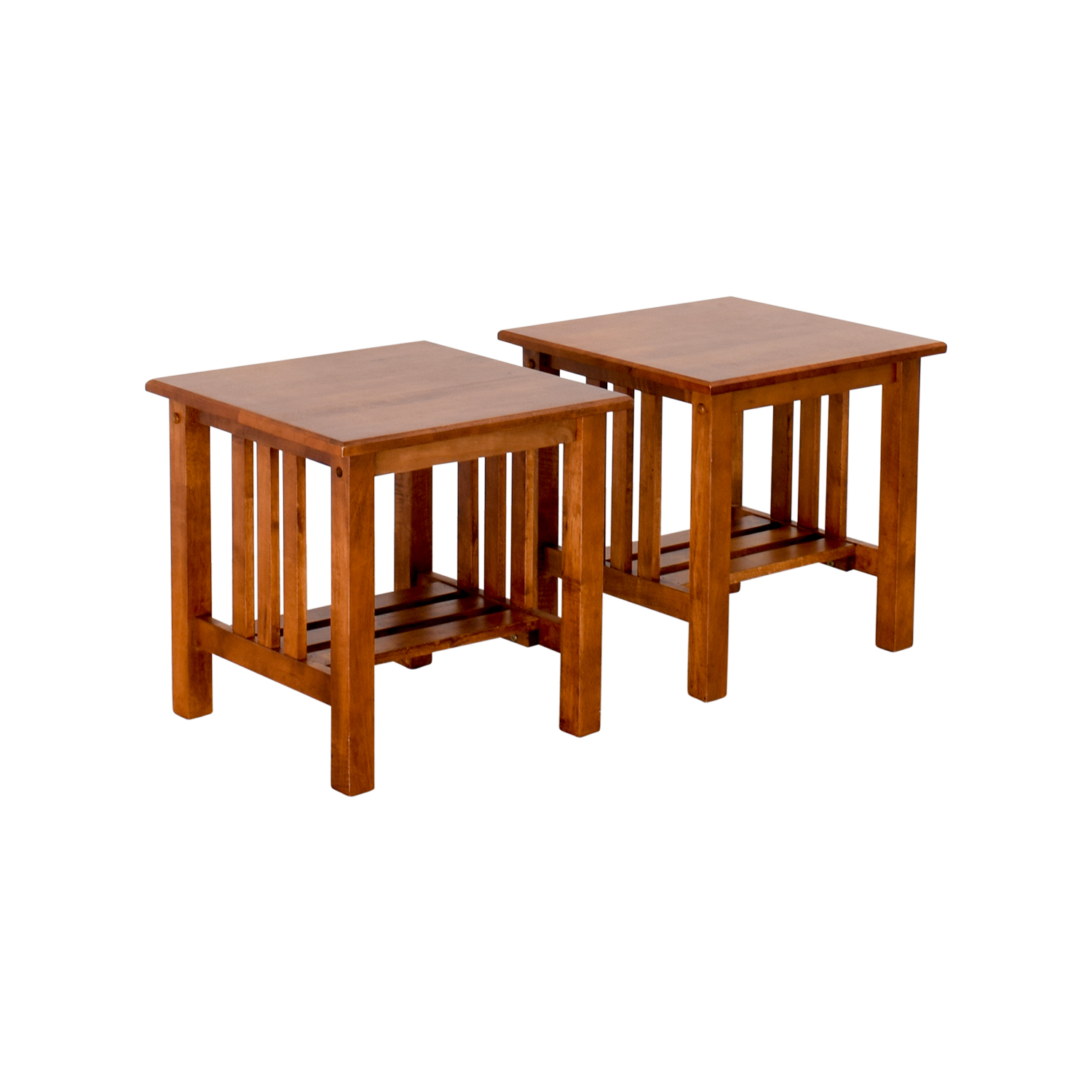 62% OFF Craftsman Style Wood End Tables Tables
