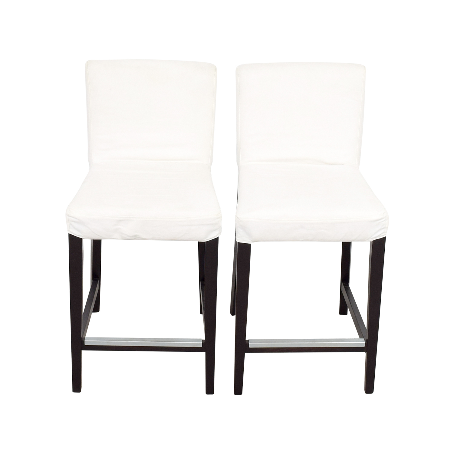 88 off ikea ikea henriksdal white covered bar stools chairs. Black Bedroom Furniture Sets. Home Design Ideas