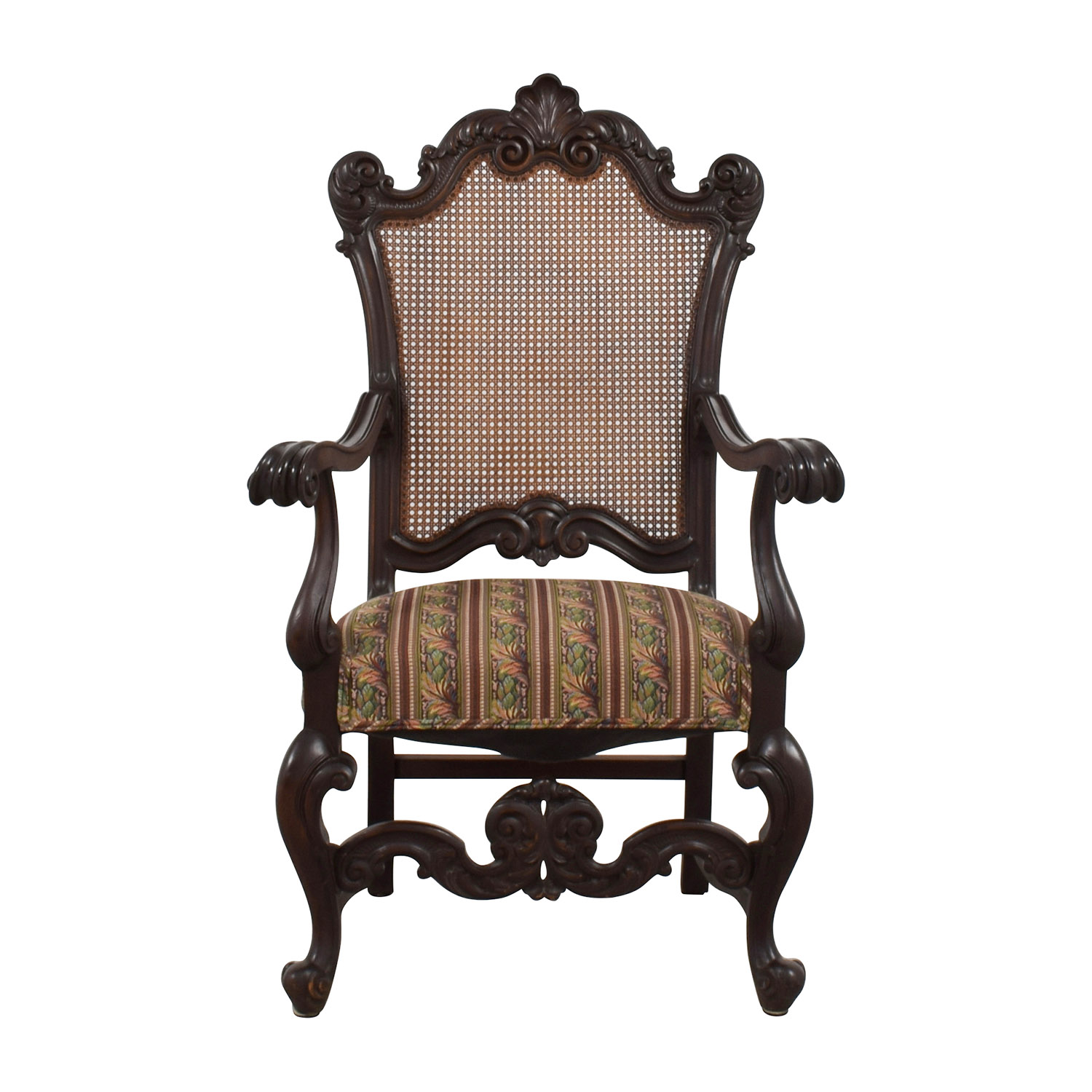 Antique Accent Chair With Hole Caning Back Accent Chairs ...