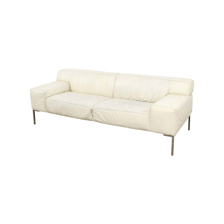 ... Jensen Lewis Jensen Lewis American Leather Tuscan White Leather Sofa  Used ...
