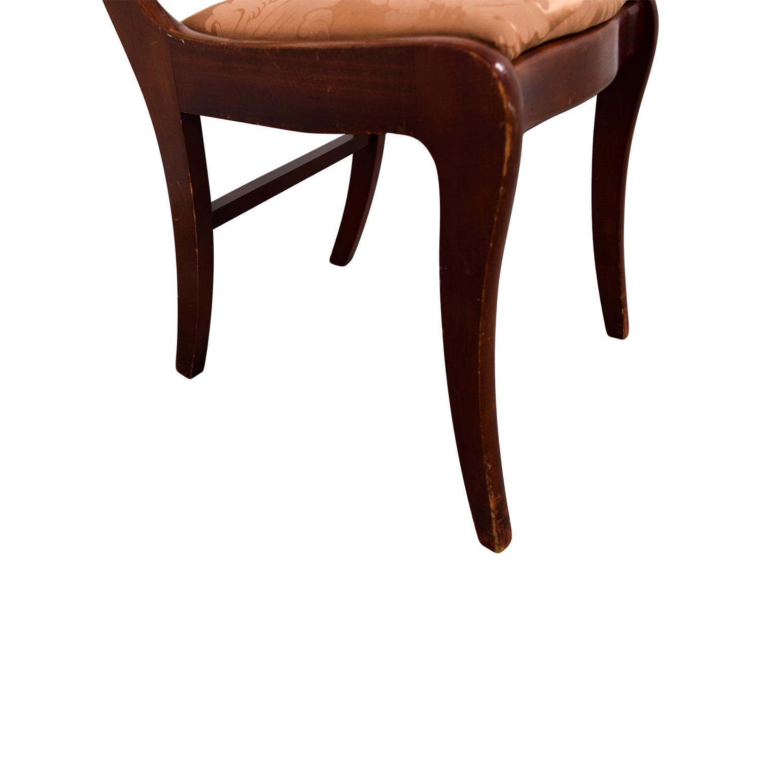 Silk Damask Upholstered Wood Chair