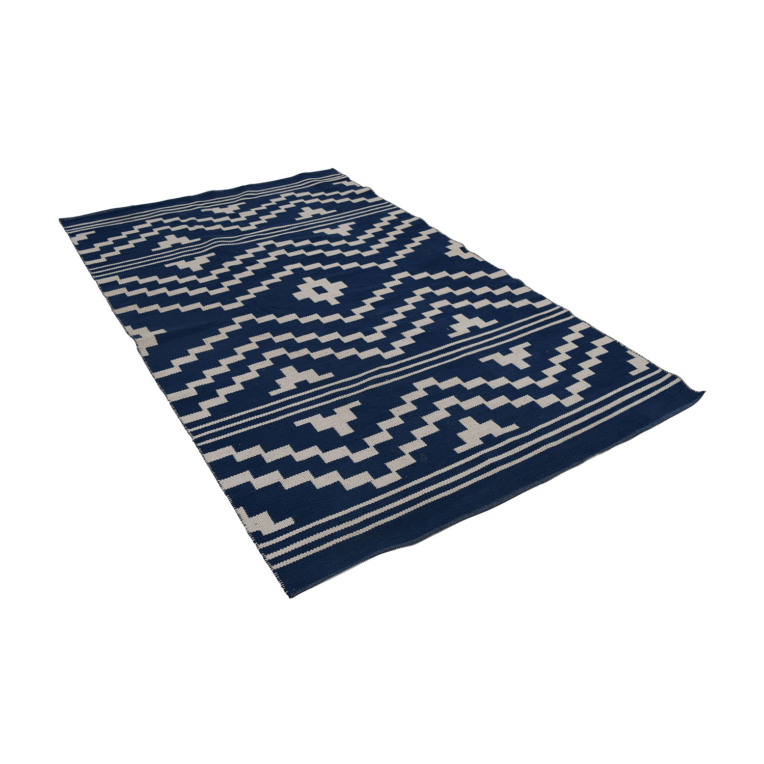 One Kings Lane Blue and White Flat-Weave Rug sale