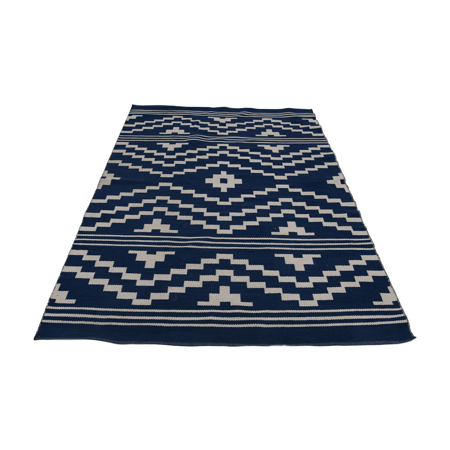 One Kings Lane One Kings Lane Blue and White Flat-Weave Rug nyc