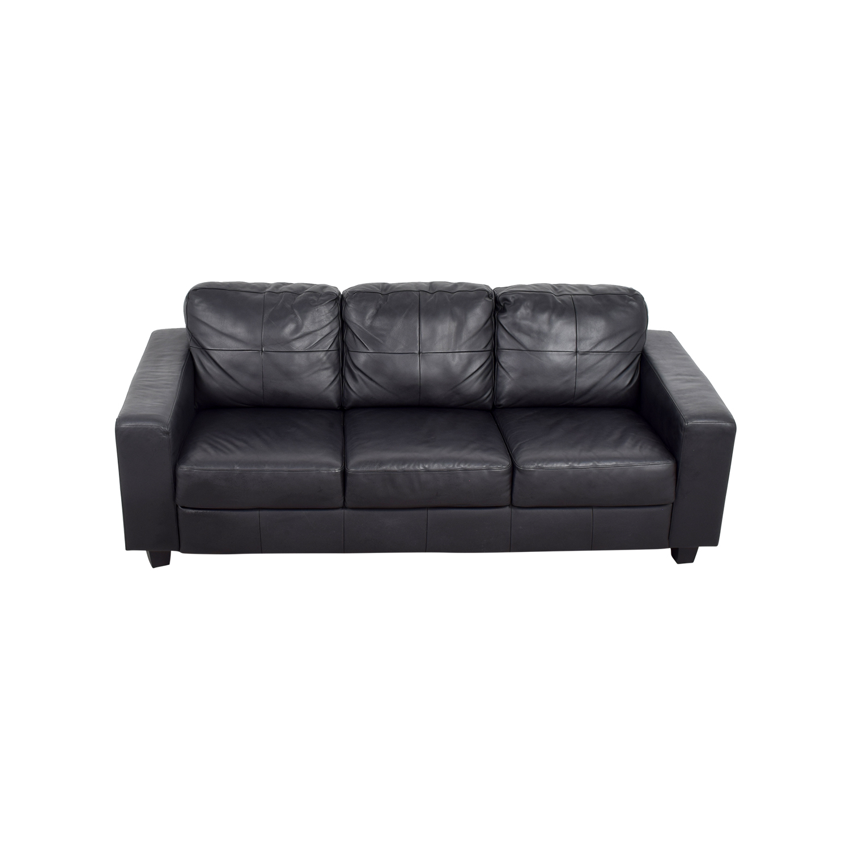 44% OFF - IKEA IKEA Skogaby Black Leather Sofa / Sofas