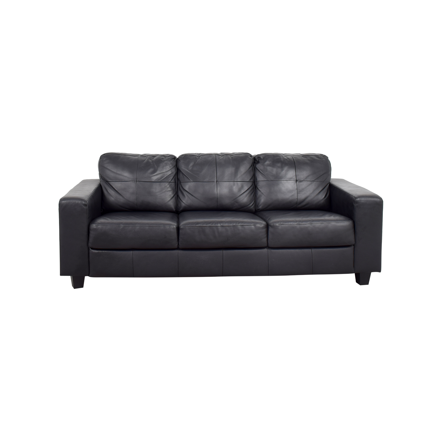 44% OFF - IKEA IKEA Skogaby Black Leather Sofa / Sofas