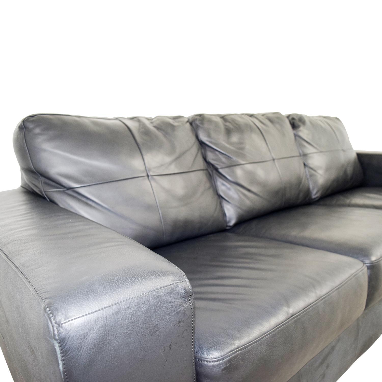 Off Ikea Ikea Skogaby Black Leather Sofa Sofas