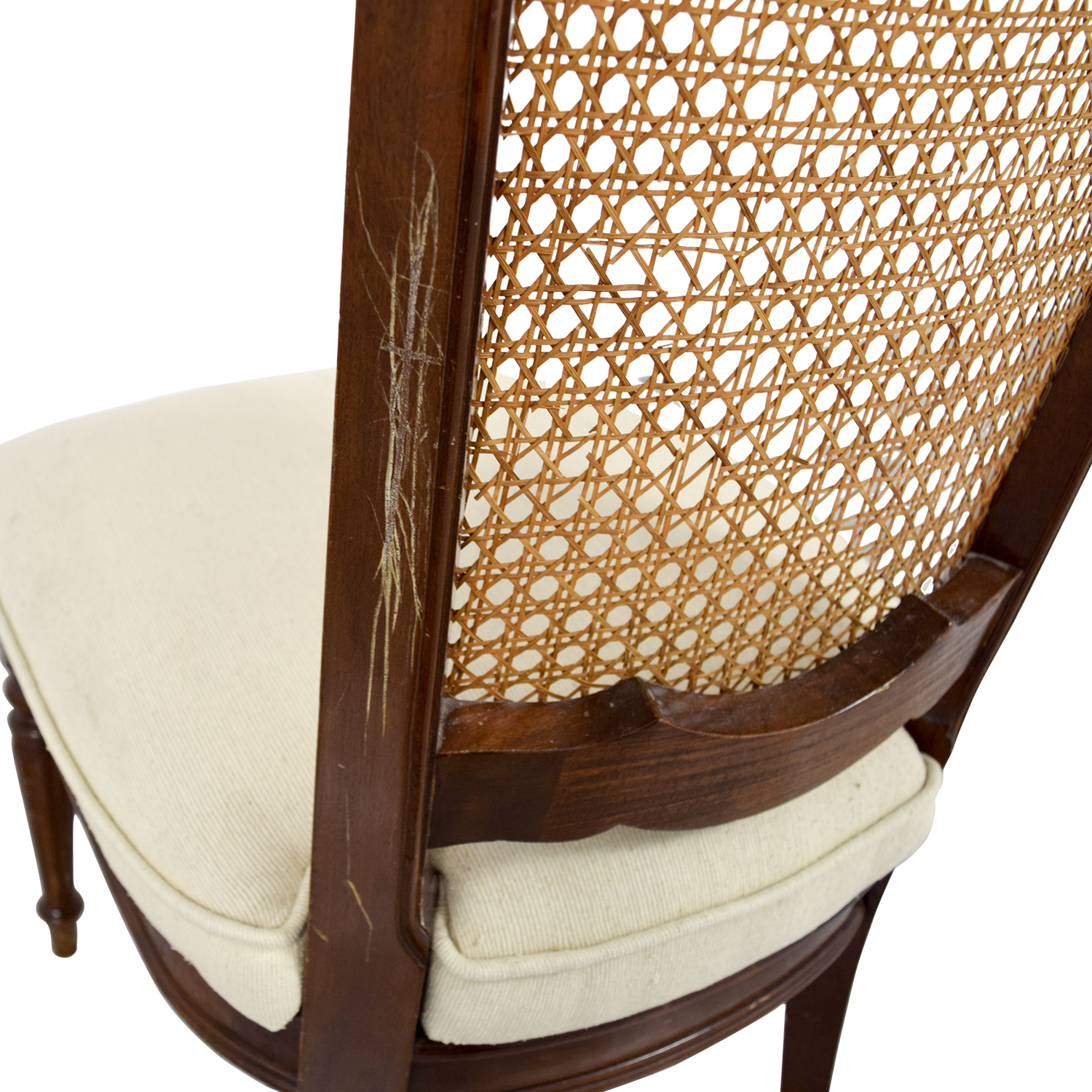 ... Beige Cain Webbing Back Country Chair Second Hand