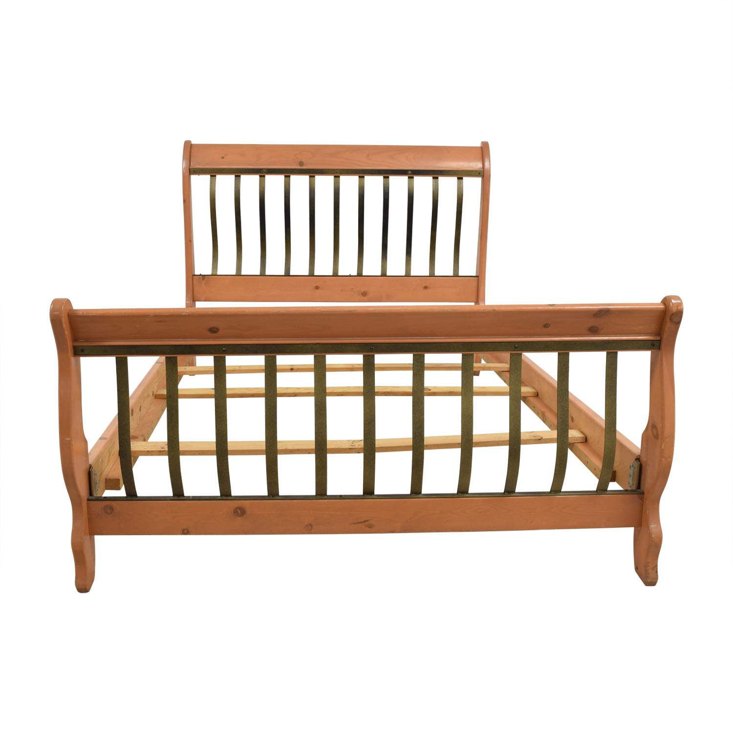 Queen Wood and Metal Sleigh Bed on sale
